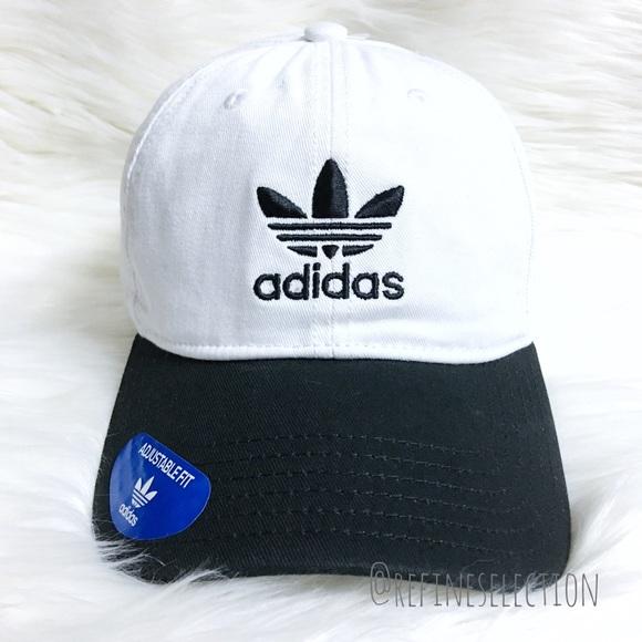 d978ddcb4fa adidas Originals White Black Strapback Dad Hat Cap
